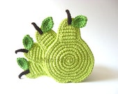 Crochet Coasters Green Light Pear . Beverage Drink Pastel Peridot Lime Leaves Vegan Decor Crochet Fruit Collection - Set of 4 Made to order