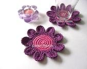 Flowers Crochet Coaster Pink Purple Beverage Drink Petal Tea Rose Spring Garden Collection