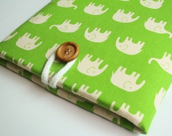 Ipad case sleeve for Ipad 2 / New Ipad / Padded sleeve- Green elephant