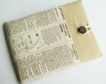 Ipad case sleeve for ipad 2, new ipad -PADDED - FRONT POCKET-newspaper in brown