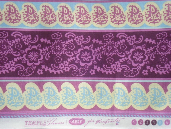 Super SALE : Amy Butler Temple Flowers violet border print Free Spirit fabrics FQ or more