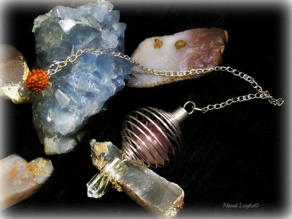Spiritual Energy Silver Amethyst, And Crystal Rudraksha Caged Pendulum