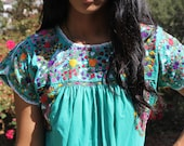 Teal Green Vintage Oaxacan  Dress Amazing Detail 1960s 1970s
