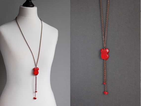 Chain necklace with Red Turquoise Bead and Red Coral Beads