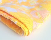 Bright Yellow Orange Floral Pattern Vintage Material on White