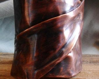 Wide Fold Formed Copper Cuff