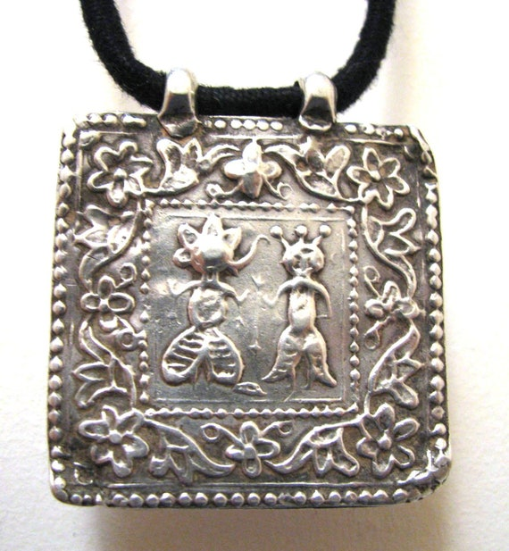 RESERVED  - 19th Century Ganesh and Pavarti Amulet  Pendant, Rajasthan, India -  RARE - 11 Grams