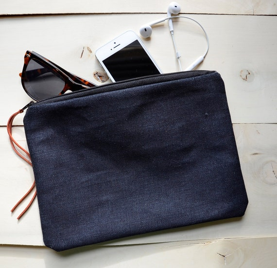 Selvedge Raw Denim Pouch with Leather Pull
