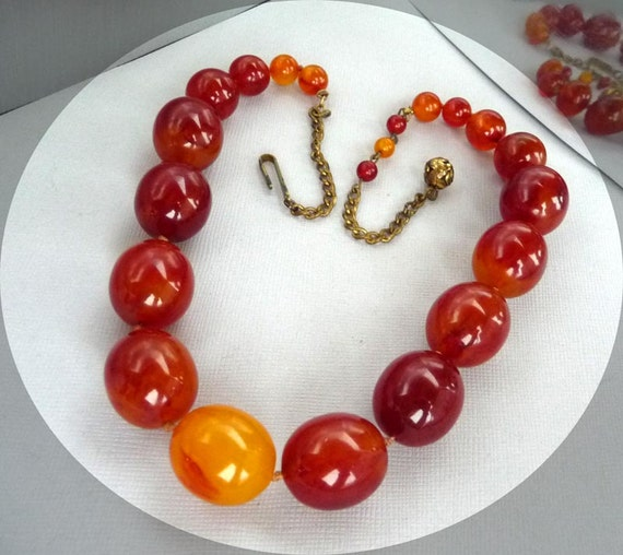 Huge Bakelite Graduating Bead Necklace - Marbled Cherry Amber