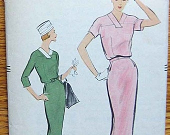 RARE Vintage 50's Misses' One-Piece Dress Vogue 9162 Sewing Pattern Size 16, Bust 36""