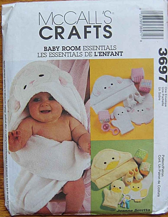 Infant's, Babies' Lamb and Duck Hooded Towels, Wash Mitt, Bibs, Booties, Play Blocks, McCall's 3697 Sewing Pattern UNCUT