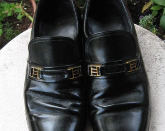 70s Men's Slip on Shoes Shiney Black Dressy Loafers with Gold Tone Detailing Florshem Shoes Mens 8 1/2 D