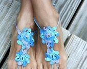 Crochet barefoot sandals, Blue, Turqouise, nude shoes, wedding, sexy,  bridesmaid, beach