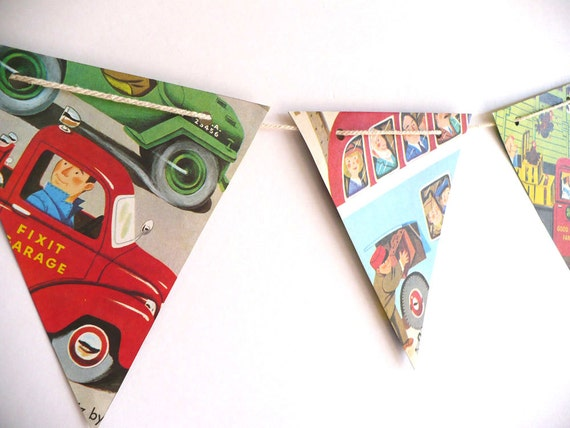 CARS and TRUCKS bunting for boy bedroom, handmade vintage paper bunting with Richard Scarry illustrations