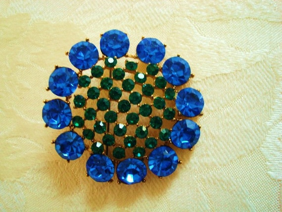 Vintage Rhinestone Brooch with Brilliant Blue and Green Stones