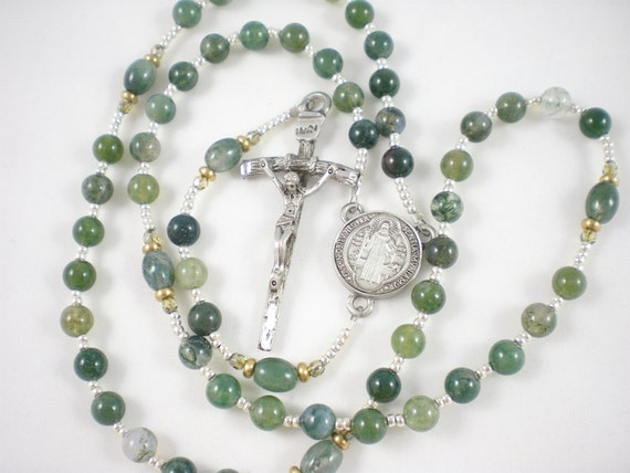 Moss Agate Stone Catholic Rosary for Men