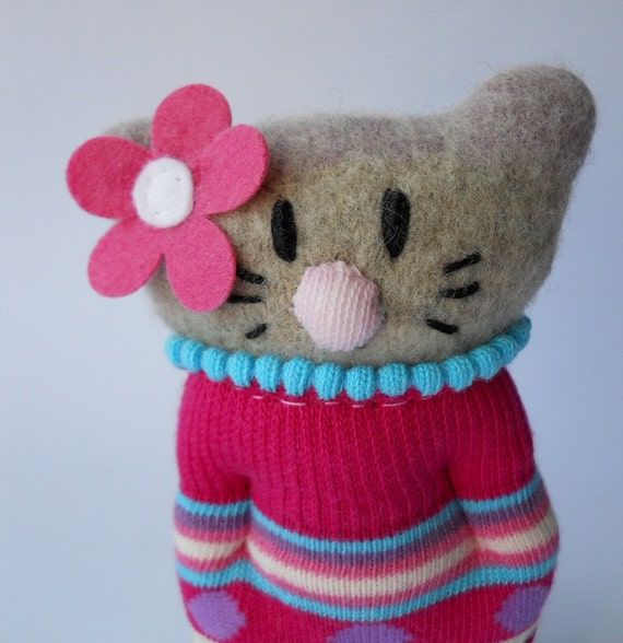 stuffed animal cat  miniature  doll flower pink felted sock animal upcycled wool sweater recycled repurposed  plush creature called Rosie