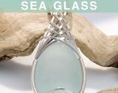 Seafoam Sea Glass Jewelry Pendant, Beach Glass