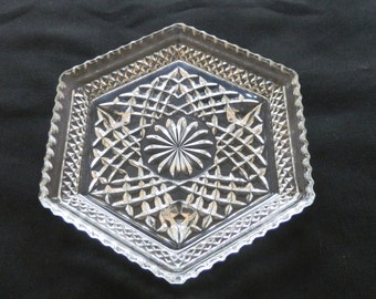 Vintage Wexford Six Sided Dish by Anchor Hocking Clear Crystal