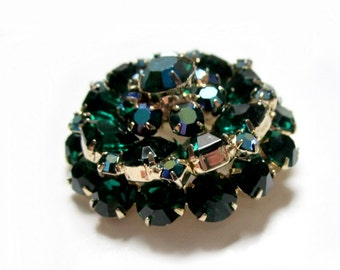 Green Rhinestone Brooch Vintage Emerald Cut Layered Dome Pin
