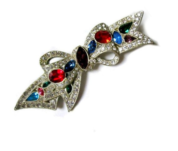 "Vintage 4"" Red Blue Green Purple Rhinestone Bow Brooch Pin"