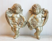 Gold Angels, Cherub Angels,  Wall Decor, Cherub Statue, Gold, Art Nouveau, Ornate, Chalkware, 1950, mid century angels, Hollywood Regency