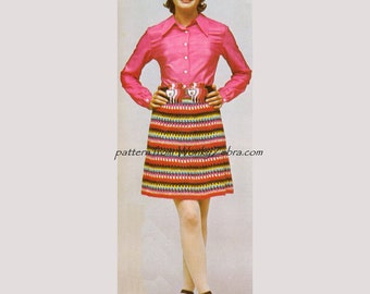 Vintage Pattern PDF 385 Striped Crochet Skirt from WonkyZebra