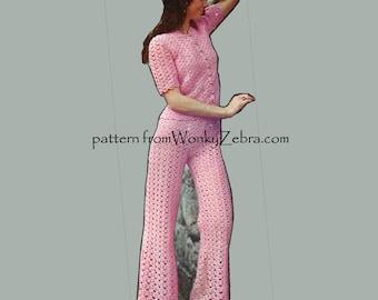 Crochet Pants Pattern Vintage PDF 176 Pantsuit from WonkyZebra