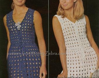 Vintage Crochet Micro Mini Dress Pattern PDF 433 from WonkyZebra