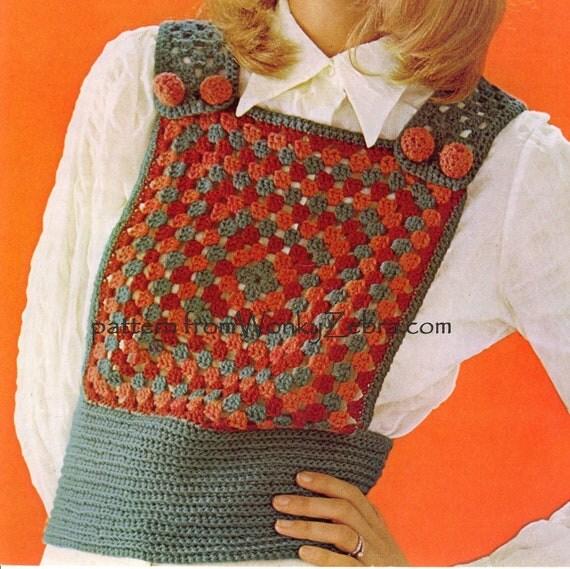 Vintage Crochet Pattern 259 PDF Granny Square Tank Top from WonkyZebra