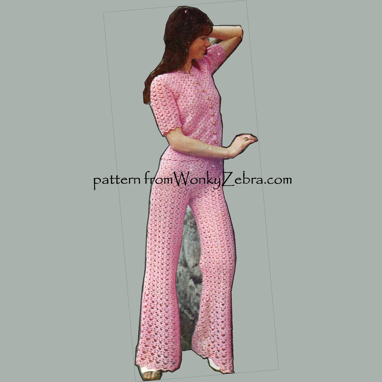 Crochet Pants : Crochet Pants Pattern Vintage PDF 176 Pantsuit from by wonkyzebra