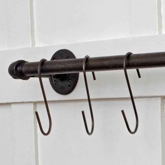 French butcher s hooks set steel w ebonized rust