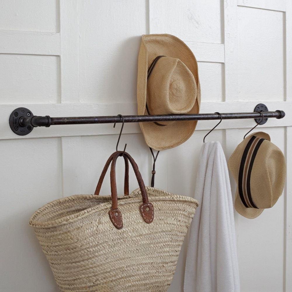 Plumbing pipe storage bar towel bar pot rack coat rack for Handtuchhalter vintage