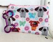 Pet Mess Clean Up Bag / Goofy Dogs and Butterflies Fabric  / Pet Leash Purse