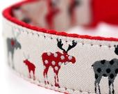 Red Moose Dog Collar, Adjustable, Animal Print Dog Collar, Cabin Style collar