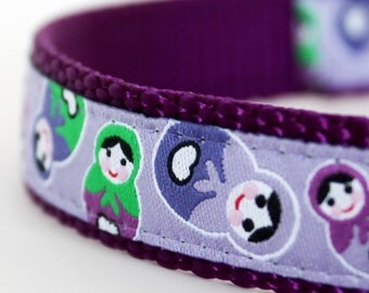 Happy Matryoshka Dog Collar Purple, Russian Stacking Dolls, Adjustable Pet Collar, Lavender