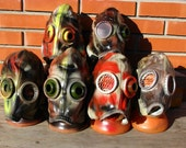 Lot of 6 NOS Soviet vintage leather GAS MASK goggles Steampunk pilot post apocalyptic