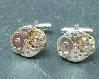 Cufflinks with a  lovely set of matching watch movement cufflinks, for a wedding, anniversary or birthday, Premium Listing