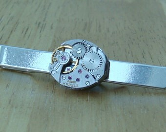 Tie Bar with 17 Jewel Swiss made vintage watch movement, ideal for the steampunk lover