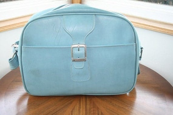 Vintage Retro Powder Blue Samsonite Travel Bag