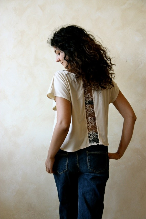 women's cropped top - cream jersey and lace t shirt
