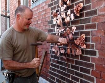Custom Made Eternal Rose Bush Copper Metal Sculpture Commisioned Work Kabbalah Sephirot