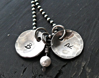Hand Stamped Inital Necklace - Personalized Inital Necklace - Sterling Silver Inital Necklace with Pearl