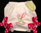 Personalized Monogrammed Stacked (Initial with Name) Diaper Cover with Bows
