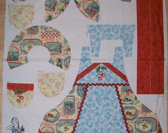A Beautiful Cherries On Blue Apron Fabric Panel Free US Shipping