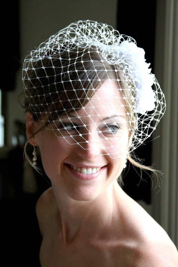 RESERVED for Tiana, 12 inch English Merry Widow Birdcage Veil, Set of white Taffeta Flowers