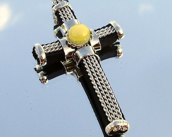 Handmade Wire Wrapped Rubber Cross with a Yellow Glass Bead