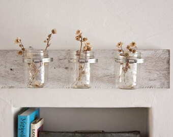 MASON JAR wall fixture shabby chic reclaimed wood