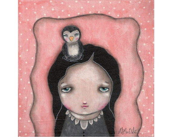whimsical painting folk art penguin whimsical art painting mixed media original 6x6 inch canvas board - I wish I had a penguin