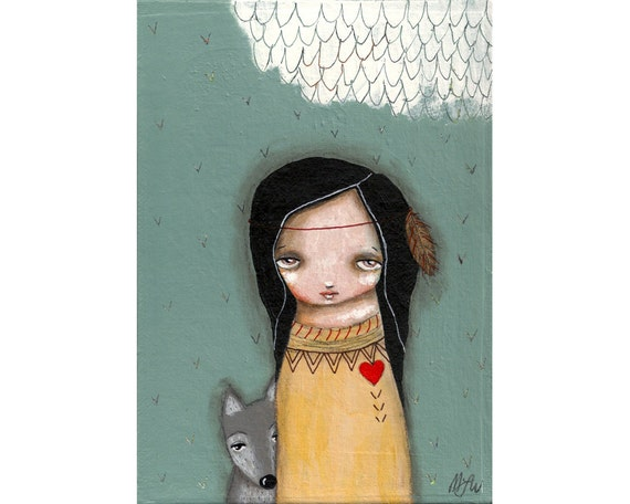 tribal whimsical folk art painting whimsical art painting mixed media original painting 5x7 inch canvas board - Brave Companion